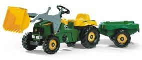 JOHN DEERE ROLLY KID TRACTOR WITH LOADER  AND TRAILER